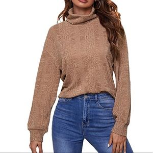 Shein Long Sleeve Funnel Neck Casual Tan Top